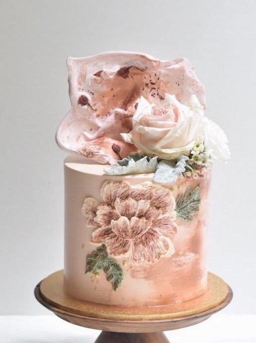 Pink Embroidery Floral Cake Singapore - Zee & Elle