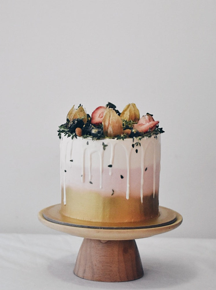 Online Pink and Gold Fruit Cake |  Cakes. Sweets. Dessert Bars- Zee & Elle