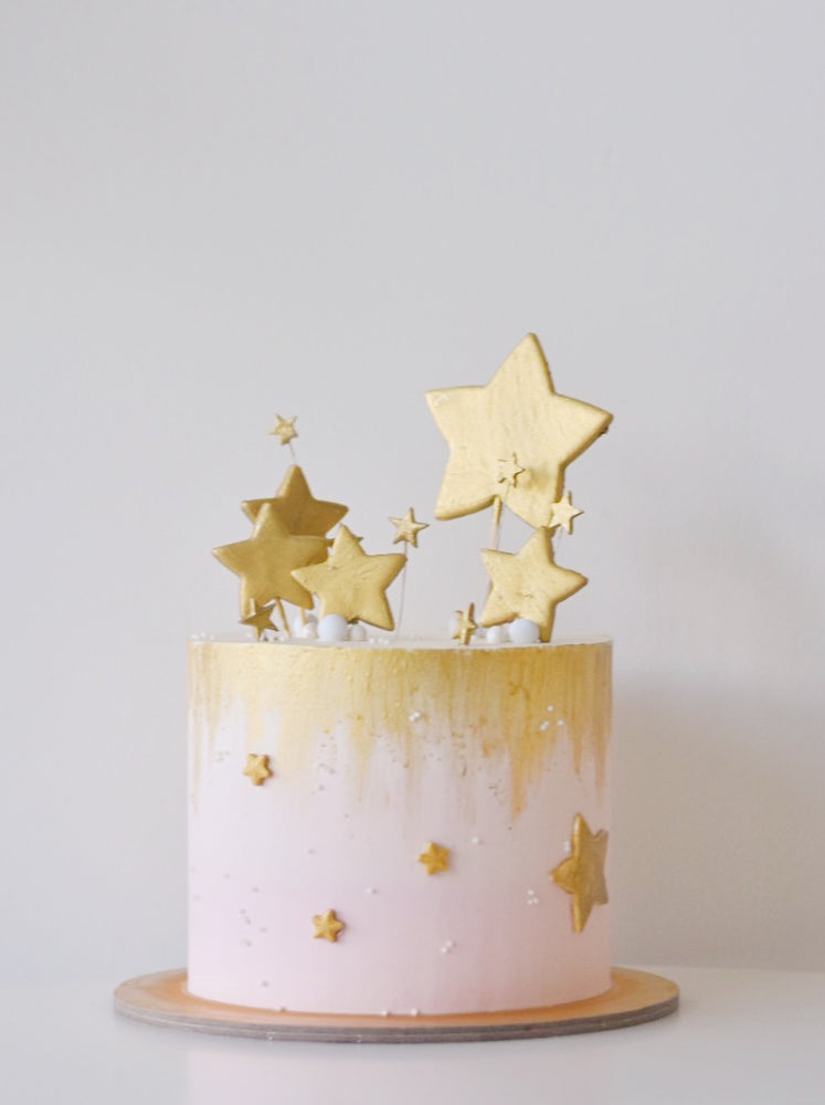 Online Pink and Gold Stars Cake |  Cakes. Sweets. Dessert Bars- Zee & Elle