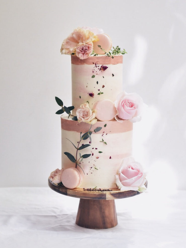 Rose Gold x Pink Watercolour Floral Cake - Cakes. Sweets. Dessert Bars- Zee & Elle