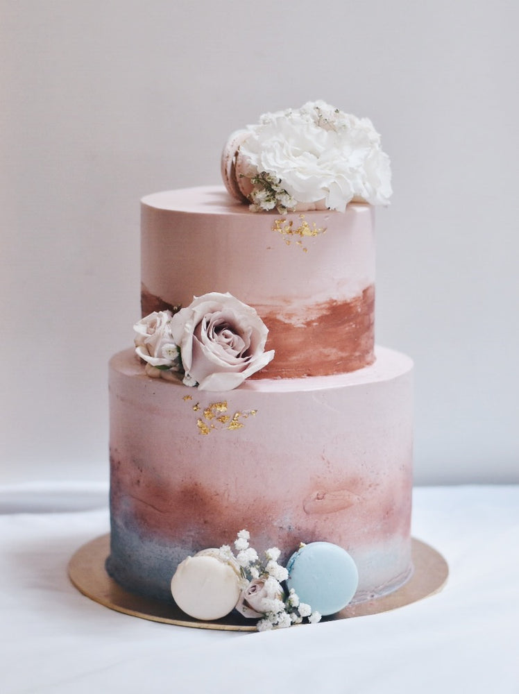 Rose Gold & Dusty Blue Cake - Cakes. Sweets. Dessert Bars- Zee & Elle