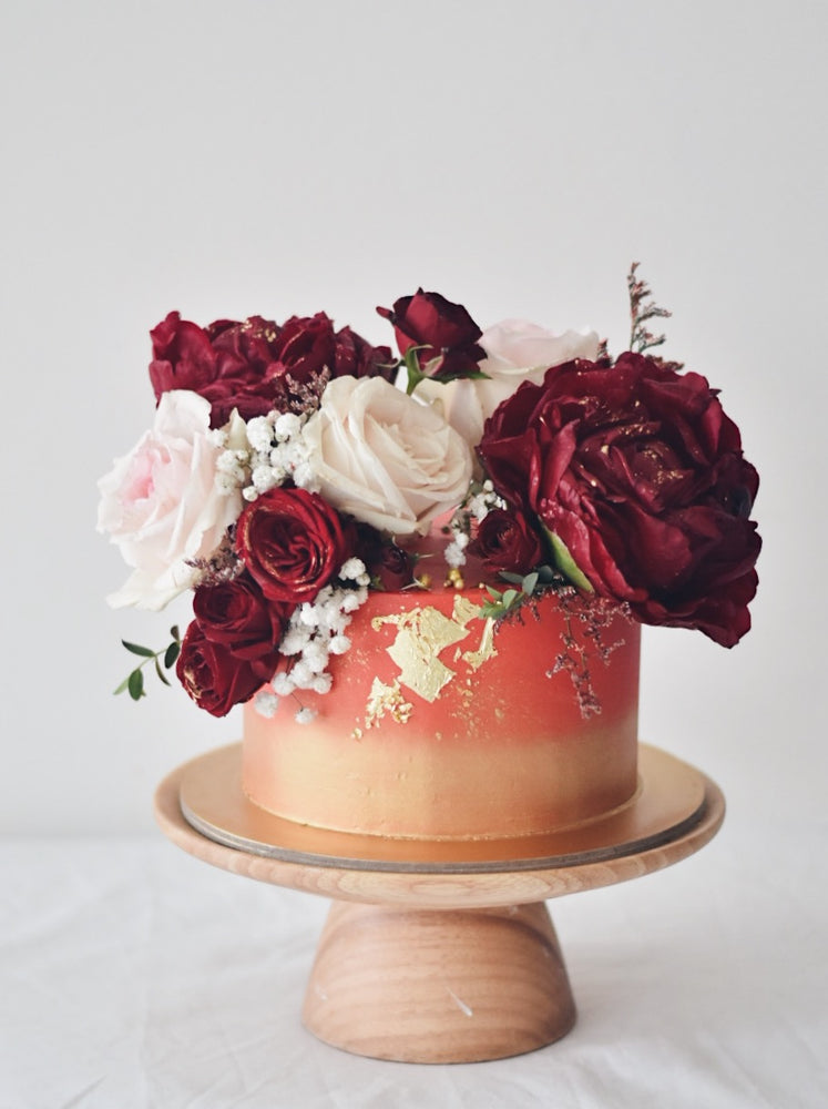 Royal Red and Gold Longevity Cake