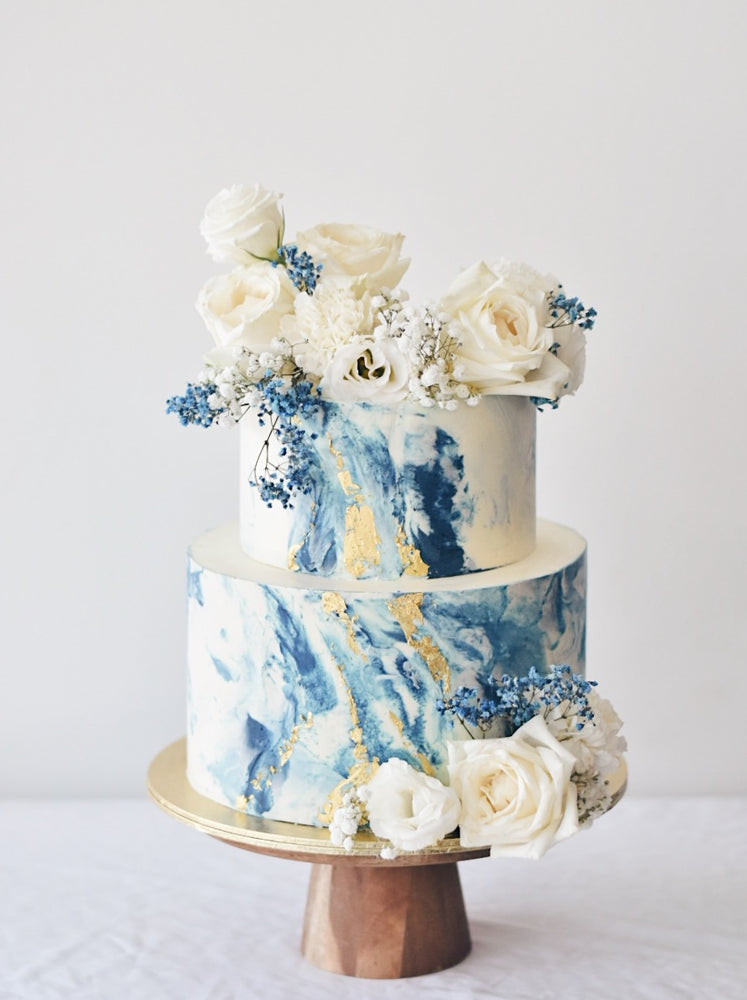Online Shades of Blue Marble Floral Cake |  Cakes. Sweets. Dessert Bars- Zee & Elle