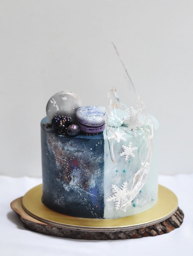 half galaxy half frozen winter cake -zeeandelle