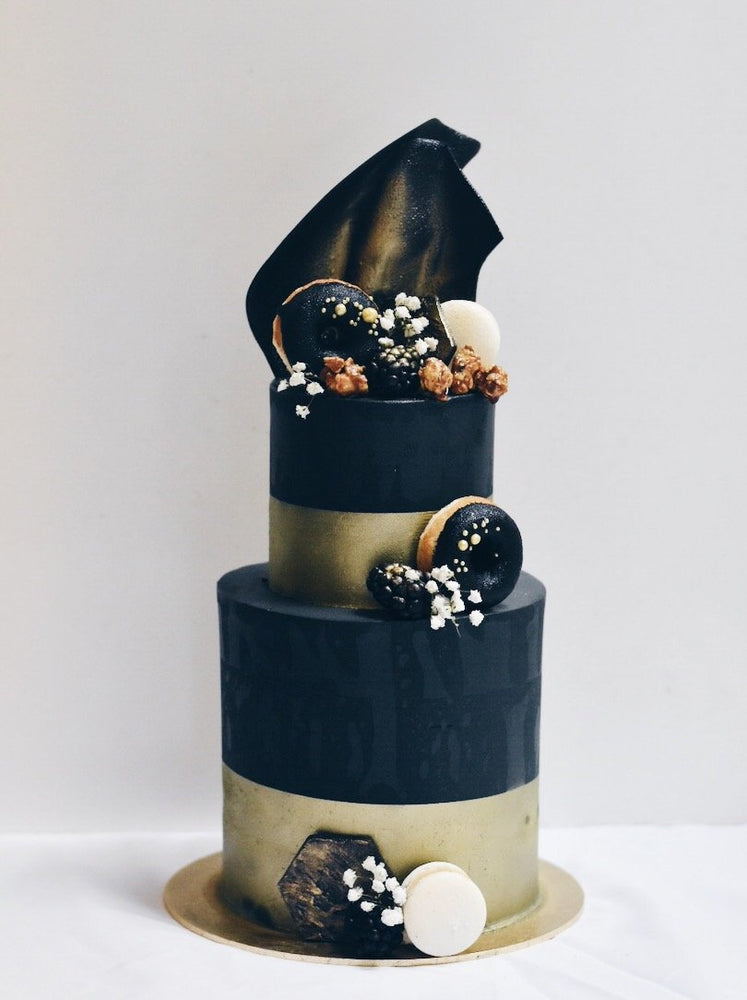 Customised Black & Gold Stud Cake - Cakes. Sweets. Dessert Bars- Zee & Elle