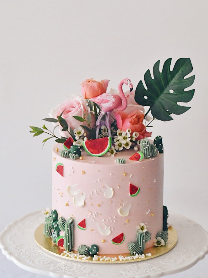 Flamingo Pink Watermelon Tropical Cake
