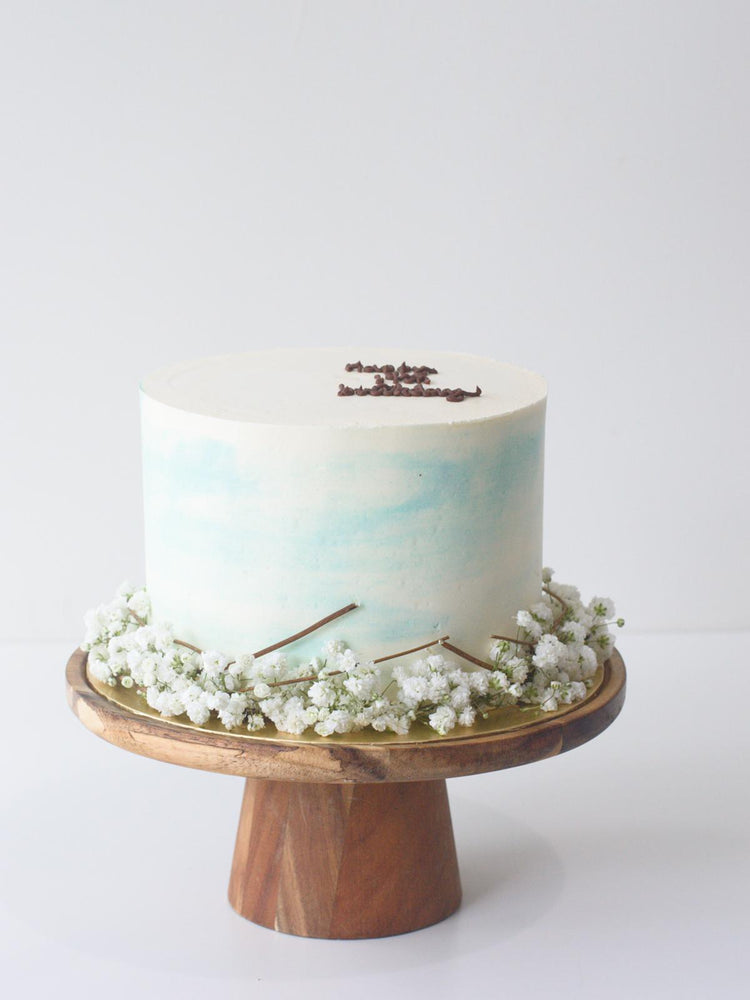 White & Blue Baby Breath Cake Singapore - Zee & Elle