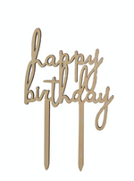 "Wooden ""Happy Birthday"" Cake Topper"
