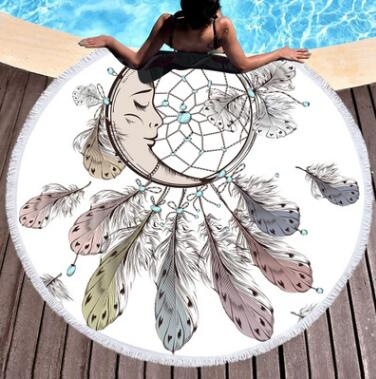 Moon and Dreamcatcher Round Blanket