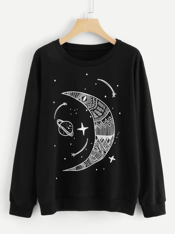 Moon And Star Print Sweatshirt
