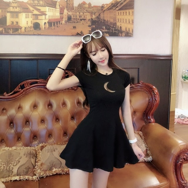 Moon Hollow Out Mini Dress