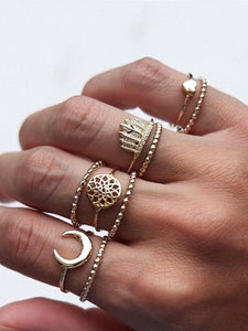 Moon & Leaf Detail Ring Set 9pcs