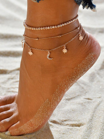 Moon & Star Chain Anklet 3pcs