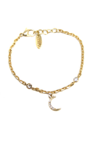 Delicate Treasures Bracelet with Moon in Gold