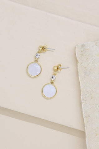 Love by the Moon White Drop Earrings