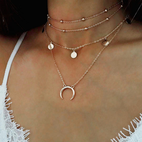 Round Moon Multi-Layer Necklace