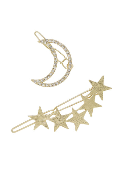Stars and Moon Set of 2 Hair Barrettes