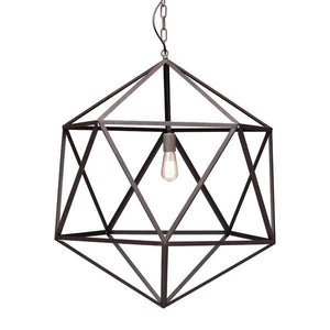 Large Rustic Metal Ceiling Lamp geometric