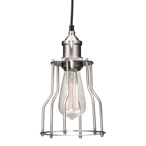 Hanging Nickel Metal Cage Ceiling Lamp Alcatraz Chic