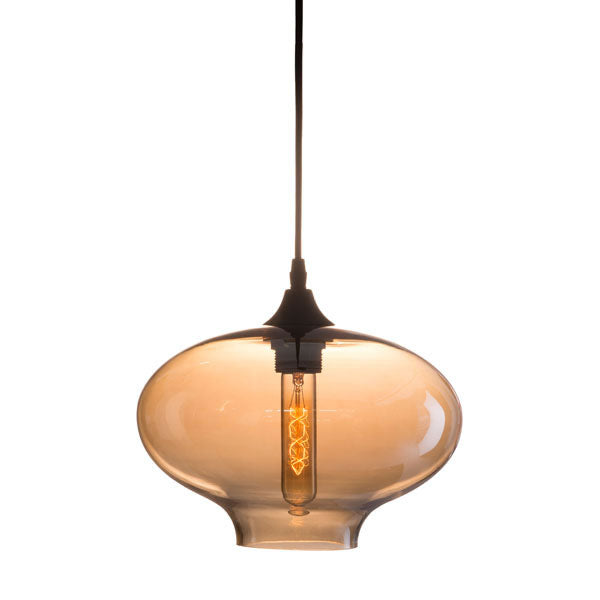Curved Round Glass Metal Ceiling Pendant