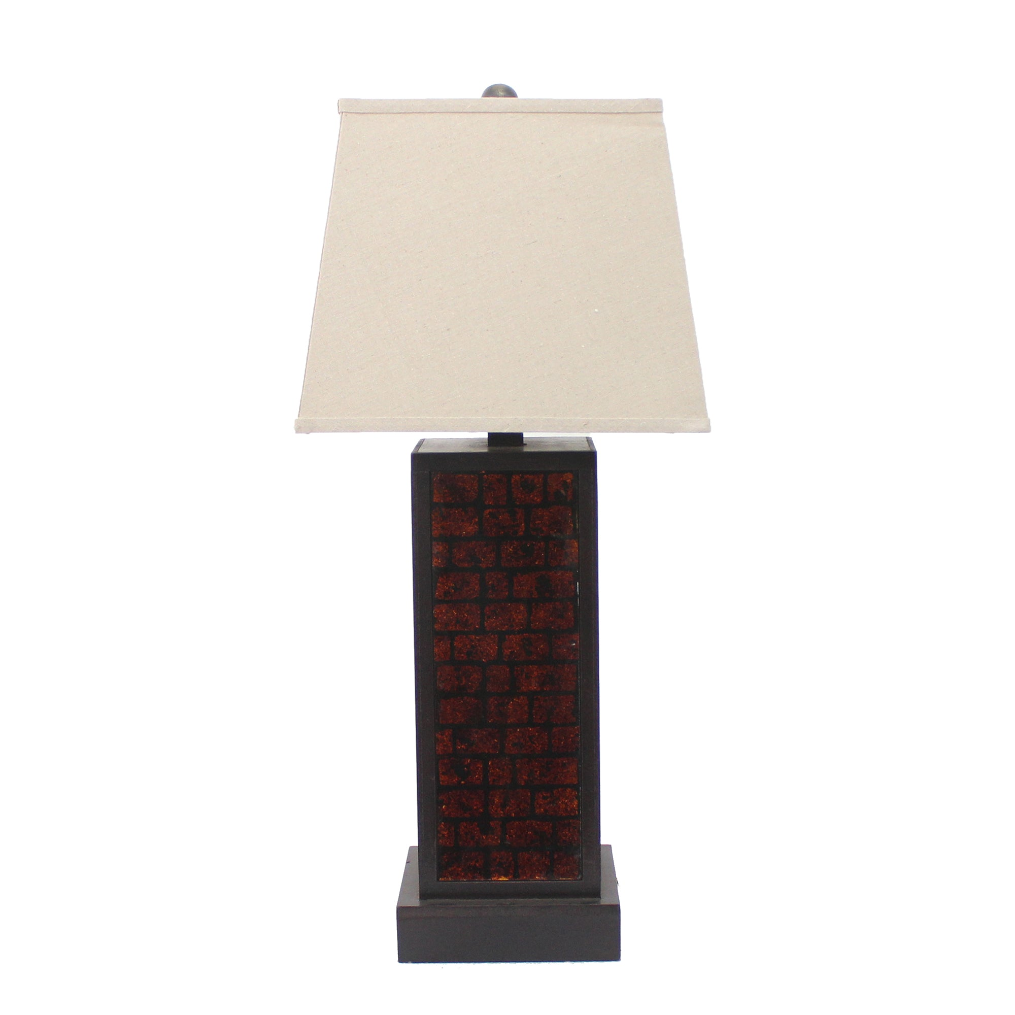 "31"" X 31"" X 8"" Burgundy Contemporary Metal Table Lamp With Brick Pattern"