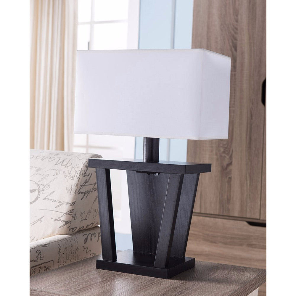 Contemporary Style Sturdy Table Lamp, Dark Brown