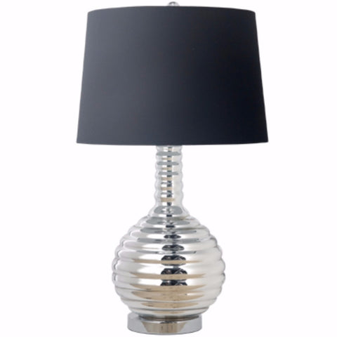 Impeccably Groomed Table Lamp, Black and Silver