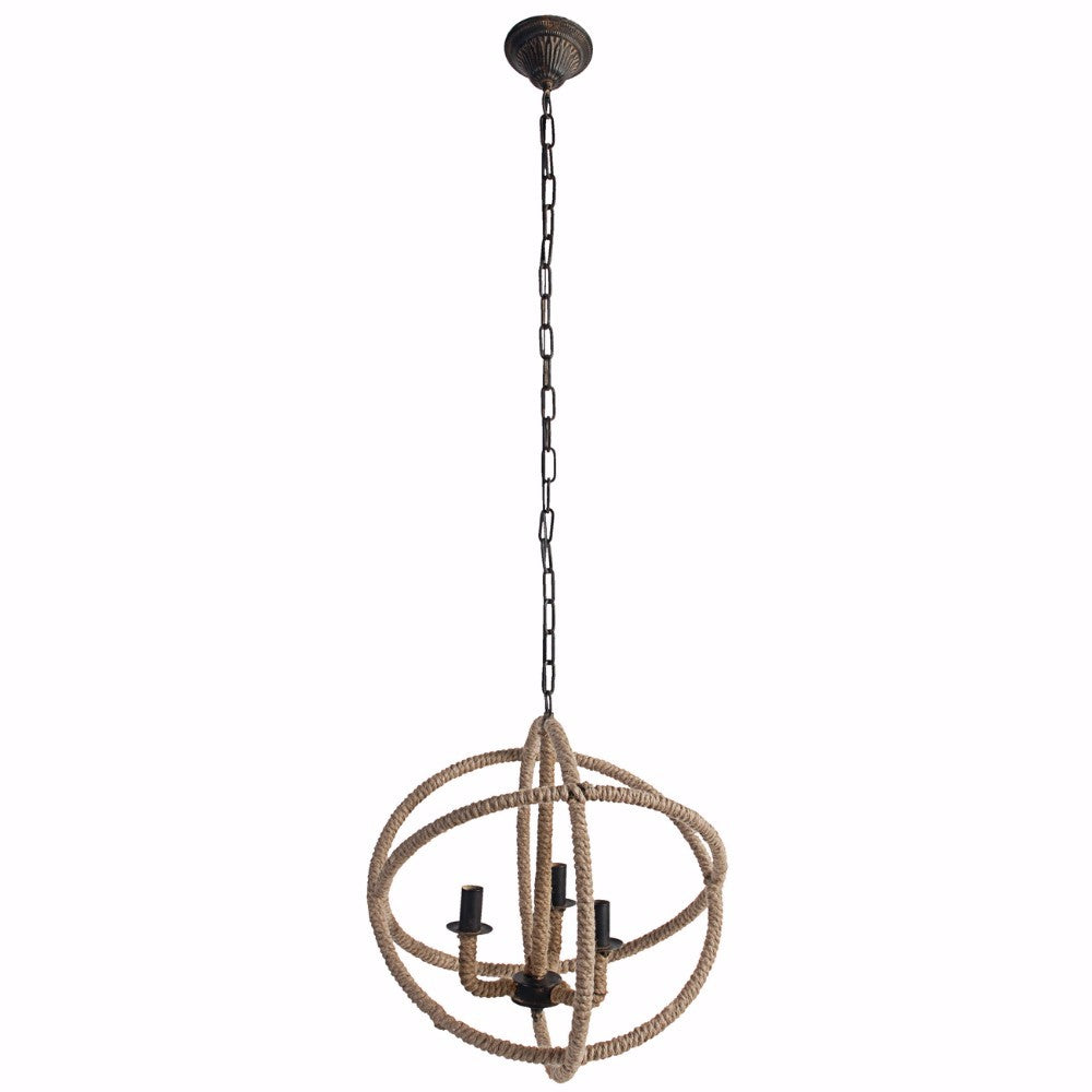 Hanging 3 light Roped Chandelier Nautical Style
