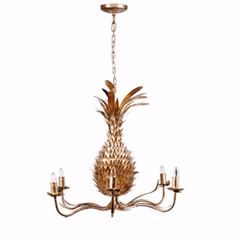 Pineapple Shape 6-Light Chandelier, Gold