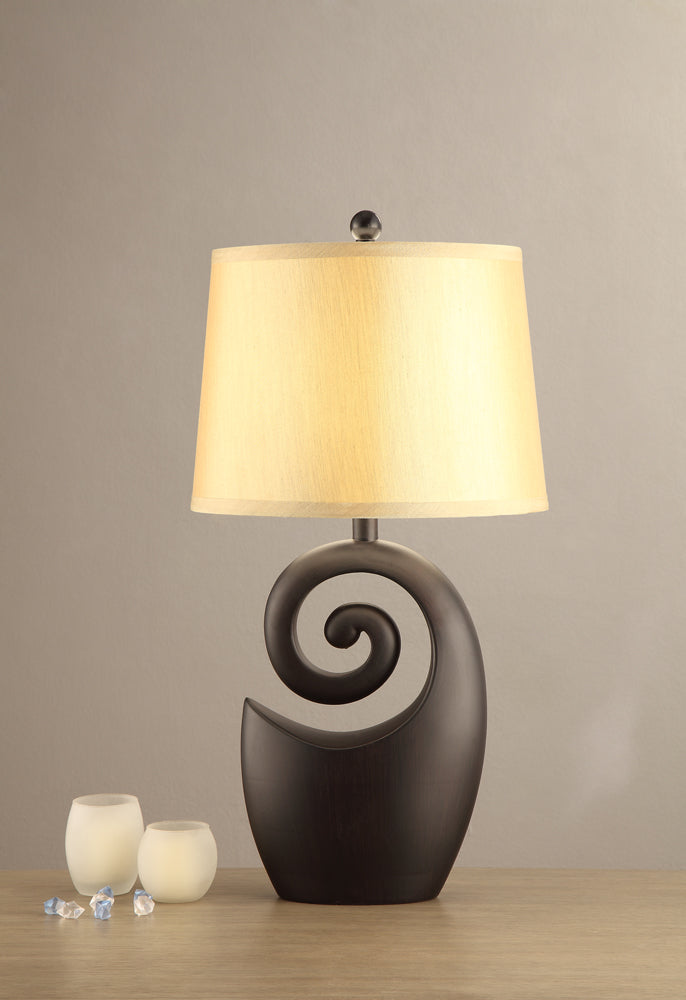 Poly Resin Lamp With Base Stand In Bold Black, Set of 2