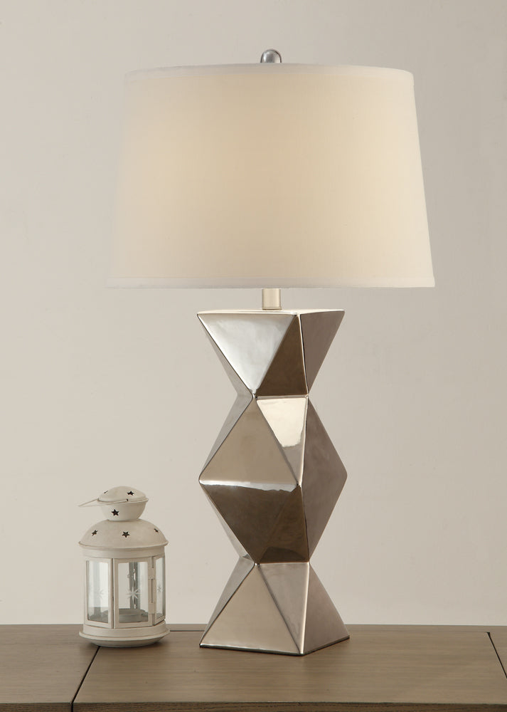 Drum Shade Table Lamp With Geometric Pattern Base Silver Set of 2