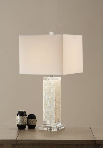 Modish Rectangular Shell Crystal Fabric Shade Table Lamp White Set of 2