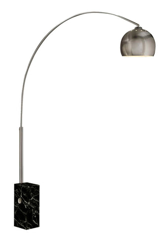Steel Floor Lamp with Sleek Curved Rod and Marble Base, Black and Silver