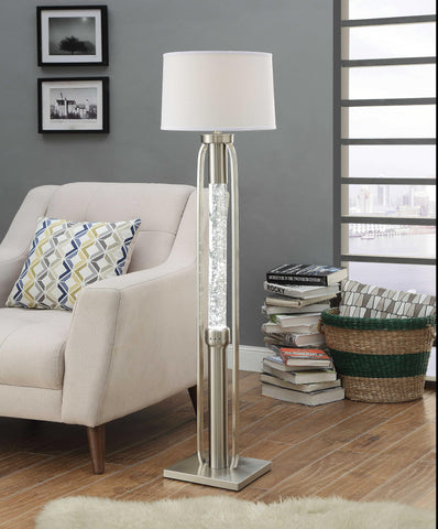 Contemporary Metal Floor Lamp with Fabric Drum Shade and LED Glass Cylinder, Silver and White