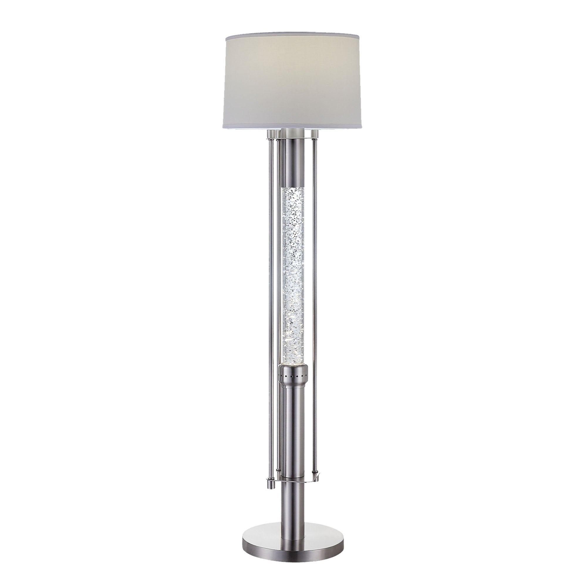Contemporary Metal Floor Lamp with Fabric Drum Shade, Silver and White