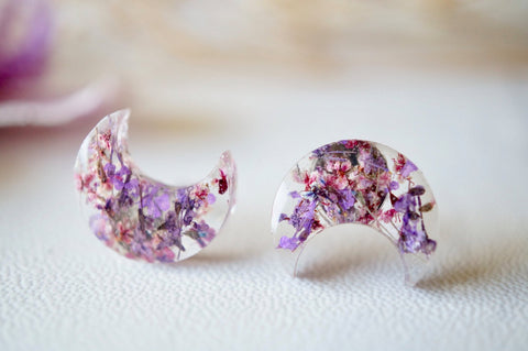 Celestial Moon Resin Stud Earrings with Real Pressed Flowers