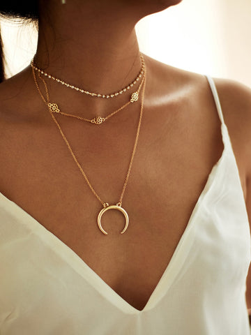 Moon Pendant Choker Necklace 3pcs