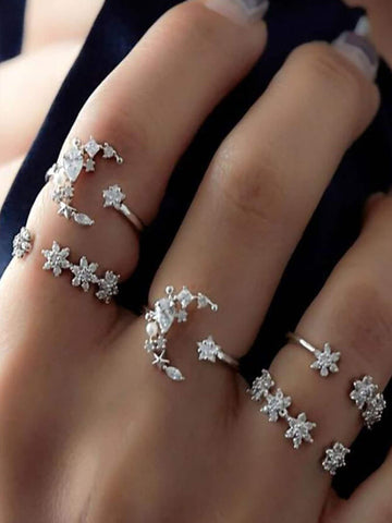 Moon & Flower Detail Rings Set 5pcs