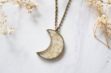 Celestial Moon Necklace with Real Flowers White and Gold Foil Mix