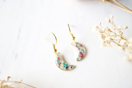Resin Earrings, Gold Celestial Moons Real Flowers in Maroon Mint Teal White