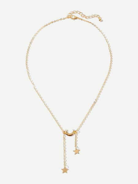 Star Lariats Moon Pendant Necklace