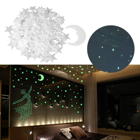 Glow In The Dark Luminous 3D Stars Moon Wall Stickers