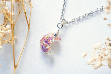 Celestial Moon Resin Necklace - Real Pressed Flowers with Rose Gold Flakes