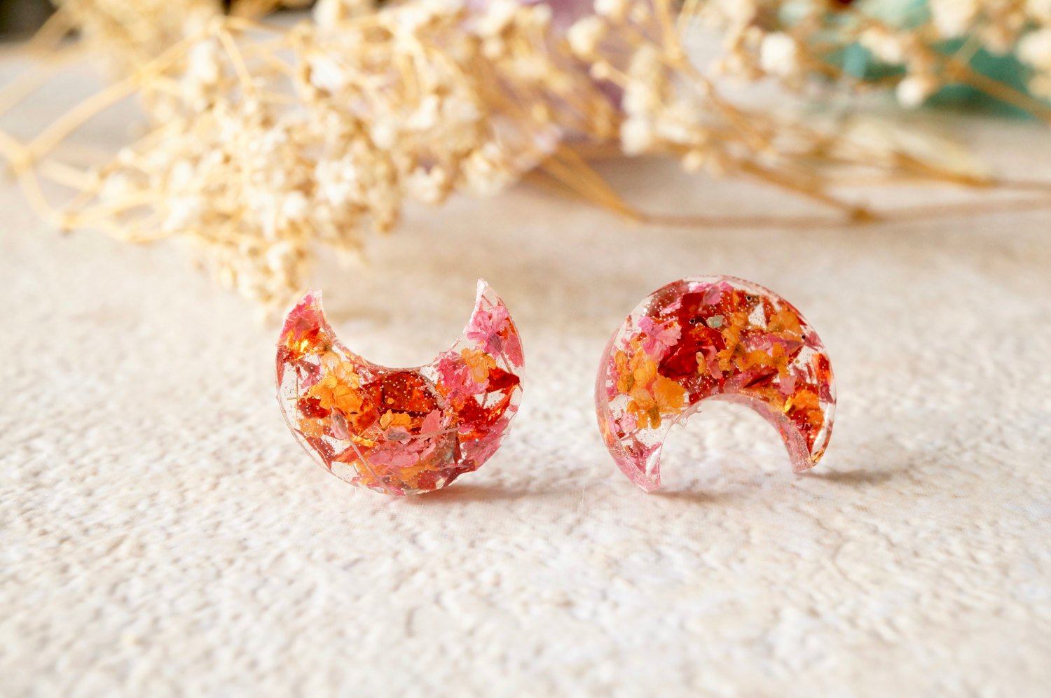 Real Pressed Flowers and Resin Celestial Moon Stud Earrings
