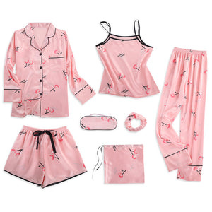 Strap Sleepwear Pyjamas Women's 7 Pieces Pink Pajamas Sets Satin Silk Lingerie Homewear Sleepwear Pyjamas Set Pijamas For Woman