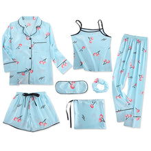 Charger l'image dans la galerie, Strap Sleepwear Pyjamas Women's 7 Pieces Pink Pajamas Sets Satin Silk Lingerie Homewear Sleepwear Pyjamas Set Pijamas For Woman