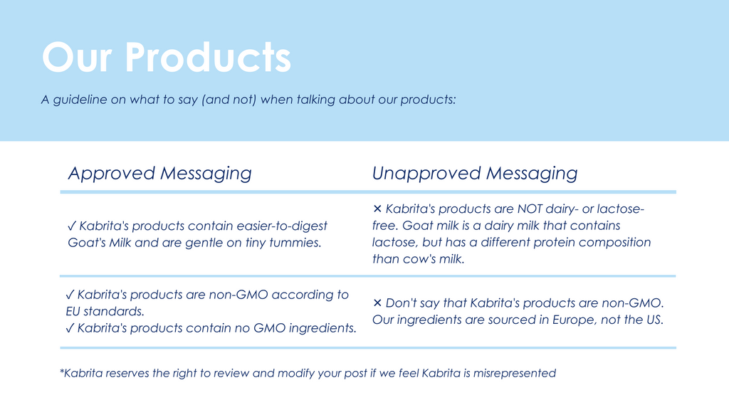 Guidelines when talking about our products