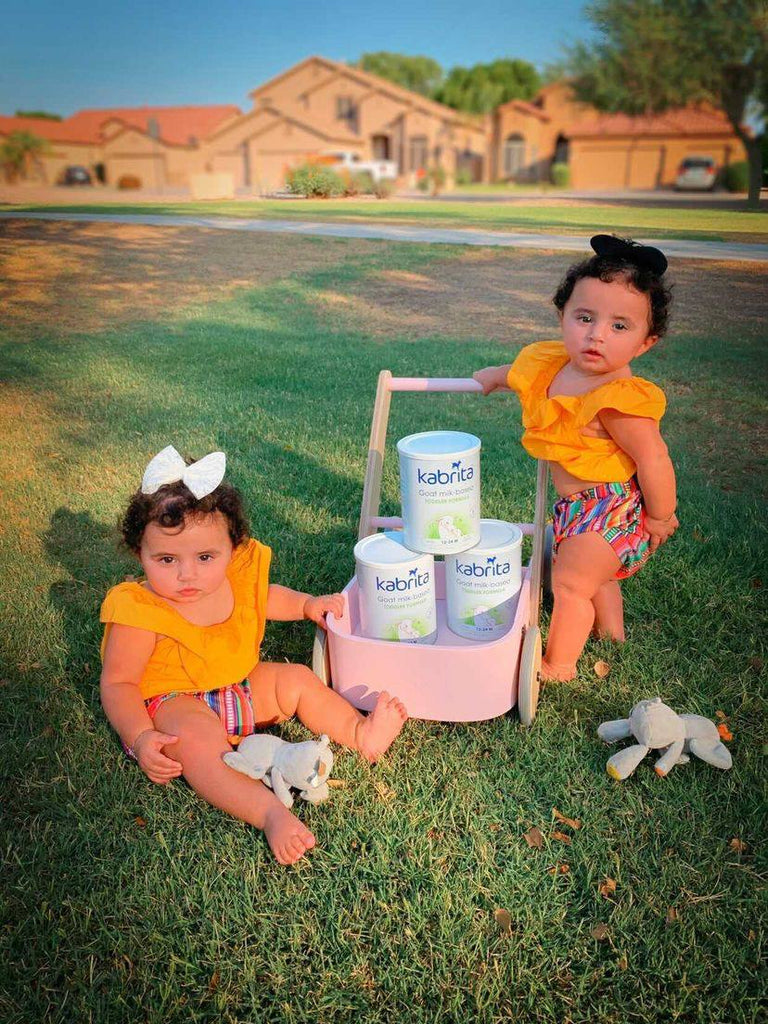Twins standing outside at sunset with a baby cart carrying Kabrita's Goat Milk Formula