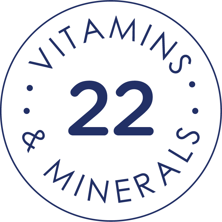 Stamp seal with 22 Vitamins and Minerals text