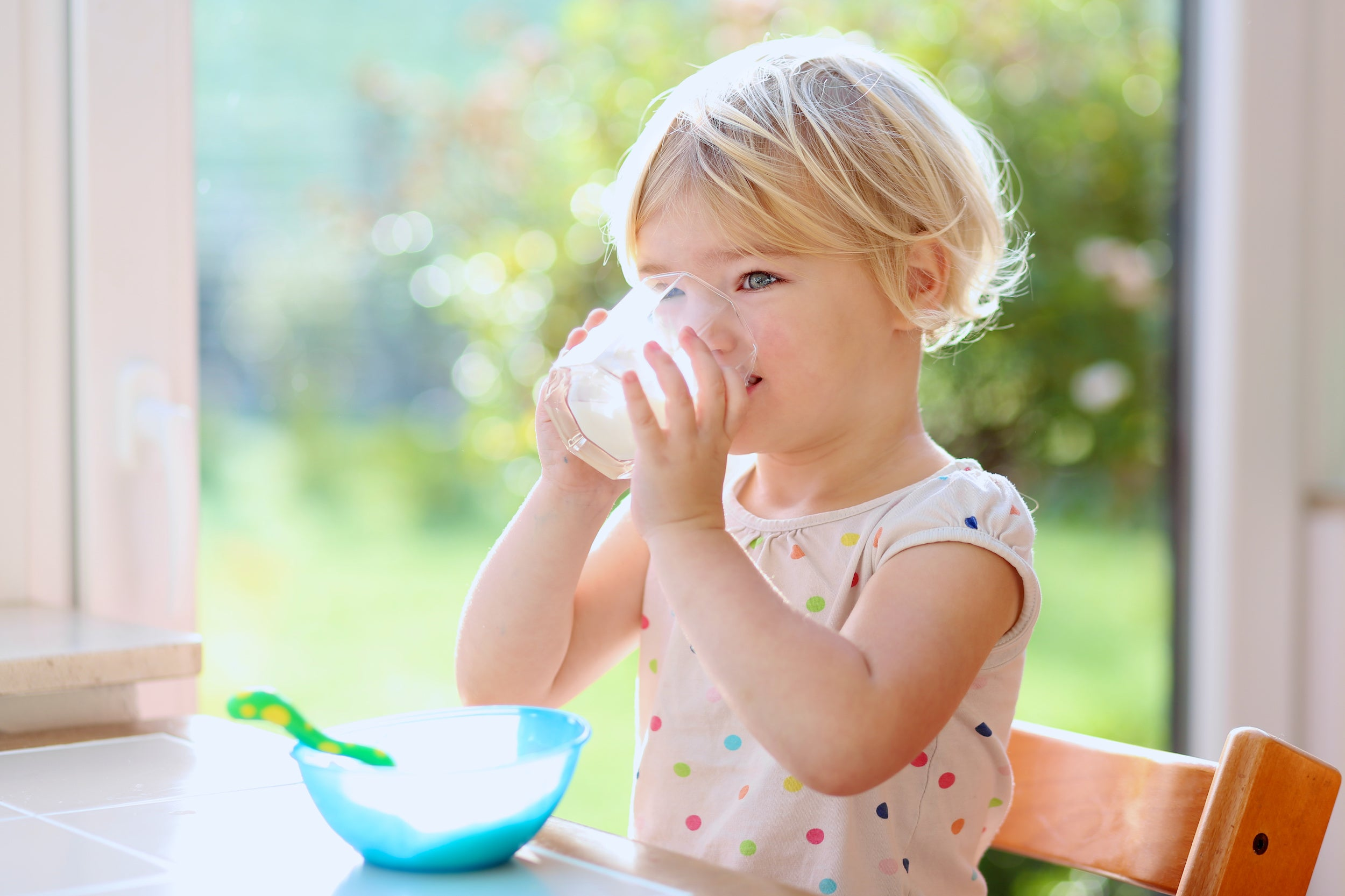 Blond curly-haired toddler drinking milk from a glass
